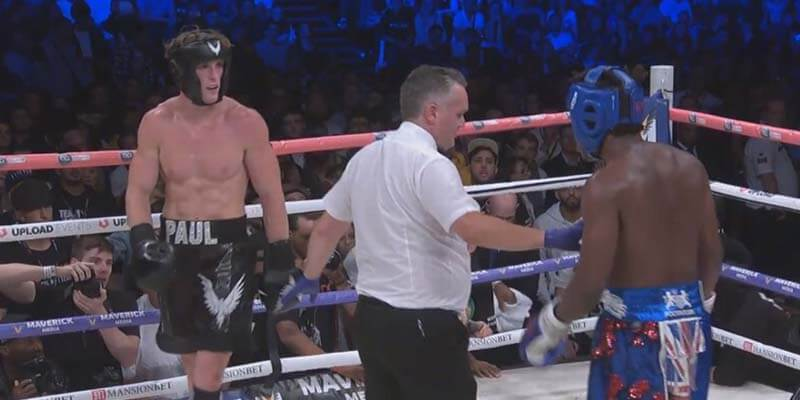 Logan and KSI in the ring with a referee in Manchester