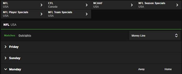 Betway NFL Sportsbook Screenshot